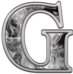 Reflective Letter G with Inferno Gray Flames