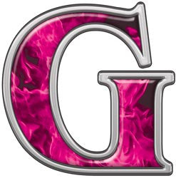 Reflective Letter G with Inferno Pink Flames