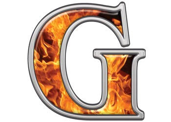 Reflective Letter G with Inferno Flames