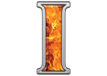 Reflective Letter I with Inferno Flame