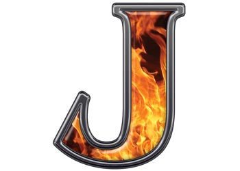 Reflective Letter J with Inferno Flame