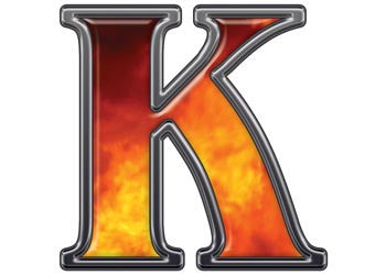 Reflective Letter K with Real Fire