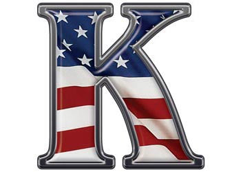 Reflective Letter K with Flag
