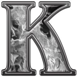 Reflective Letter K with Inferno Gray Flames