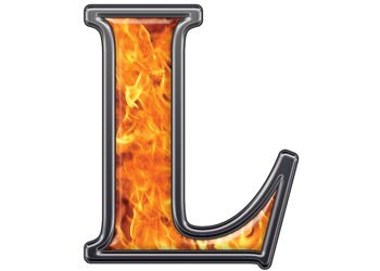 Reflective Letter L with Inferno Flame