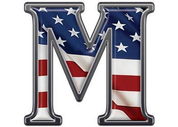 Reflective Letter M with Flag