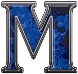 Reflective Letter M with Inferno Blue Flames