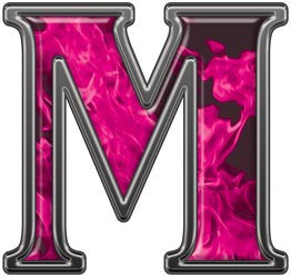 Reflective Letter M with Inferno Pink Flames