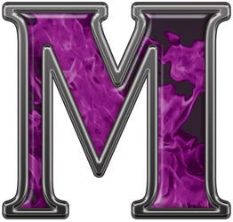 Reflective Letter M with Inferno Purple Flames