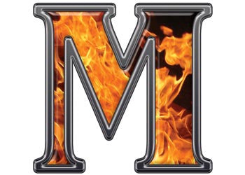Reflective Letter M with Inferno Flame