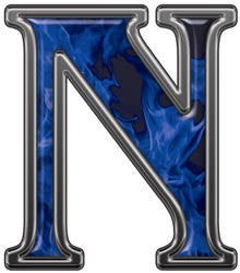Reflective Letter N with Inferno Blue Flames
