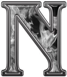 Reflective Letter N with Inferno Gray Flames