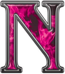 Reflective Letter N with Inferno Pink Flames