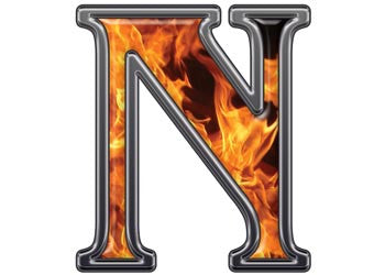 Reflective Letter N with Inferno Flame