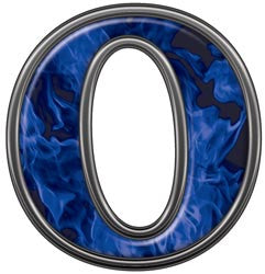 Reflective Letter O with Inferno Blue Flames