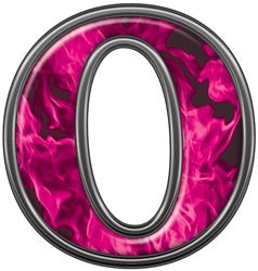 Reflective Letter O with Inferno Pink Flames