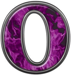 Reflective Letter 0 with Inferno Purple Flames