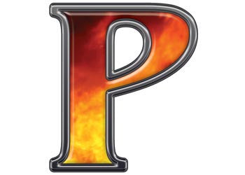 Reflective Letter P with Real Fire