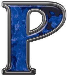 Reflective Letter P with Inferno Blue Flames