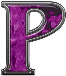 Reflective Letter P with Inferno Purple Flames