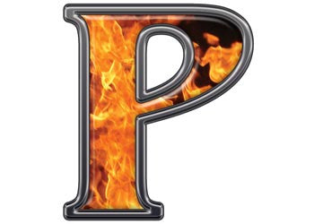 Reflective Letter P with Inferno Flame