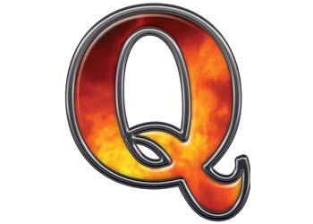 Reflective Letter Q with Real Fire