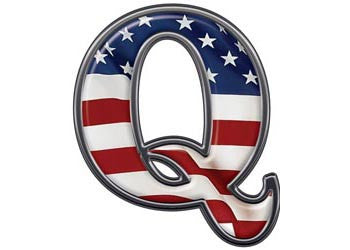 Reflective Letter Q with Flag