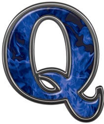 Reflective Letter Q with Inferno Blue Flames