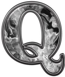Reflective Letter Q with Inferno Gray Flames