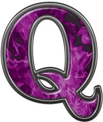 Reflective Letter Q with Inferno Purple Flames