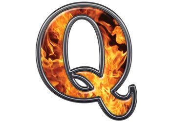 Reflective Letter Q with Inferno Flame