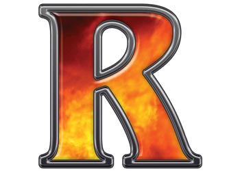 Reflective Letter R with Real Fire