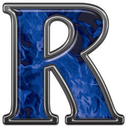 Reflective Letter R with Inferno Blue Flames