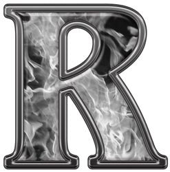 Reflective Letter R with Inferno Gray Flames