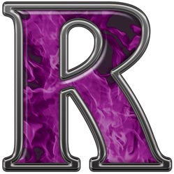 Reflective Letter R with Inferno Purple Flames