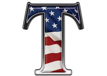 Reflective Letter T with Flag