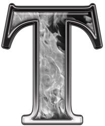 Reflective Letter T with Inferno Gray Flames