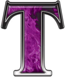 Reflective Letter T with Inferno Purple Flames