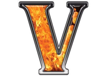 Reflective Letter V with Inferno Flame