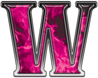Reflective Letter W with Inferno Pink Flames