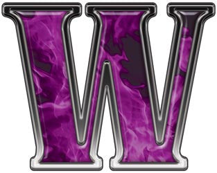 Reflective Letter W with Inferno Purple Flames