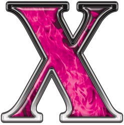 Reflective Letter X with Inferno Pink Flames