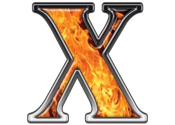 Reflective Letter X with Inferno Flame
