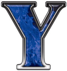 Reflective Letter Y with Inferno Blue Flames