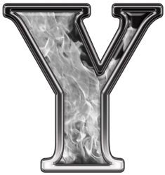 Reflective Letter Y with Inferno Gray Flames