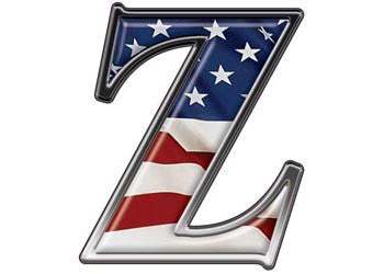Reflective Letter Z with Flag