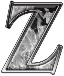 Reflective Letter Z with Inferno Gray Flames