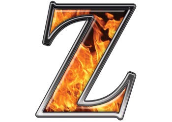 Reflective Letter Z with Inferno Flame