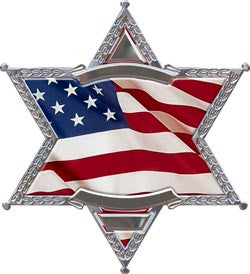 6 Point Sheriff Star Flag Decal