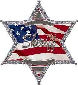 6 Point Star Sheriff Police American Flag Decal